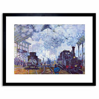 Painting Monet St Lazare Station Train Arriving Frame Picture Art Print 9x7 Inch