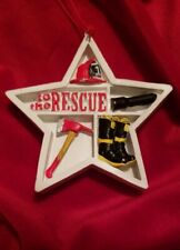 NEW STAR SHADOW BOX FIREMAN FIREFIGHTER FIRE ENGINE TO THE RESCUE CHRISTMAS...