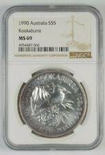 1990 $5 Inaugural Australian Kookaburra .999 Silver 1 Troy Oz. Graded NGC MS69