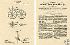 1866 Velocipede US Patent Art Print READY TO FRAME!! Vintage Bicycle bike cycle
