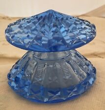 "Vintage Great Shape Art Deco Blue Cut Crystal Perfume Bottle 2 1/2"" by 3 1/2"""