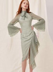 cherrie424: High Neck Asymmetric Ruffle Midi Dress