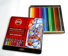 24 Polycolor Farbstifte, Künstlerstifte, KOH-I-NOOR, 24 Farben, Metallkasten,Neu