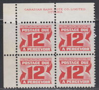 Canada #J36 12¢ CENTENNIAL POSTAGE DUE 2ND ISSUE UL PLATE BLOCK MNH