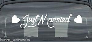 Just Married Wedding Car Window Banner Signs Sticker Decals Vinyl