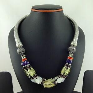 Necklace Natural Multi Garnet Citrine Amethyst Moonstone Gemstone Beaded Jewelry