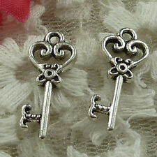 free ship 100 pieces Antique silver key charms 21x9mm #3703