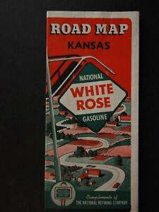 1940 WHITE ROSE GASOLINE TRAVEL MAP of KANSAS (NEW OLD STOCK)~