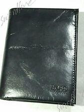 HUGO BOSS WALLET 'PISA' '50128195' TRI-FOLD BLACK KANGAROO LEATHER COIN POCKET
