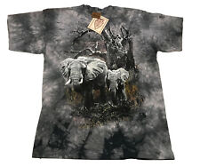 Vintage The Mountain T Shirt Tie Dye Elephant Print Mens XL Gray 1998 NEW