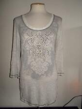 DAYTRIP / BUCKLE MS SZ LARGE EMBELLISHED FRONT 3/4 LENGTH SLEEVES LACE TRIM TOP