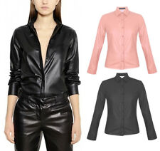 Women New Long Sleeves Top  Blouse P.U Faux Leather Collared Shirt 8-14