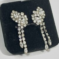 VINTAGE Clear Rhinestone DANGLE CLIP EARRINGS Marquise Round 2 Strand ESTATE
