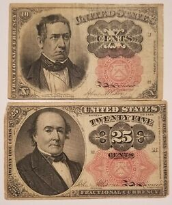 1874-1875 Fifth Issue 10 & 25 Cents, Fr-1265 1308, Lot of 2 Fractional Currency