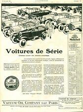 Publicité ancienne voitures de série huile Mobiloil 1925 issue de magazine