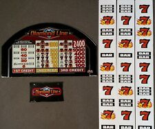 Bally Alpha Upright Stepper Slot Machine DIAMOND LINES Glass & Reel Strip Set