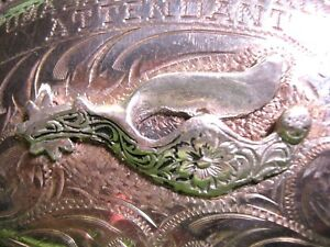 AWESOME 1973 BK STERLING SILVER Front RODEO Belt Buckle with a Spur