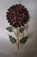 SWOBODA FLOWER PIN ~ LAYERED GEM STONES ~ GARNET, JADE, HOWLITE ~ INCREDIBLE!