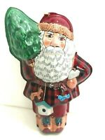 Vintage Hallmark Santa Ornament Tin Linda Sickman 1996 Keepsake Scottish Plaid