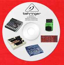 Behringer Audio Repair Service Schematics manuals on dvd in pdf format