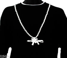 Mens White AK47 Gun Pendant Wood Hip Hop Ball Beaded 36 Inch Chain Necklace