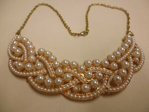 Statement Rose Gold Tone Sectioned Pearl Necklace Beautiful!