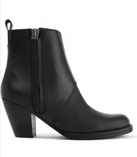 $700 Acne Studios 37 7 Black Leather Pistol Stacked Heel Ankle Booties Boots