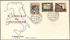 ITALIA BUSTA FDC ANNULLO PRIMO GIORNO RIMINI ARIMINUM 1958  x° COSTITUZIONE