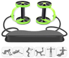 Multifunctional Exercise Equipment Ab Wheel Double Roller with Resistance Bands
