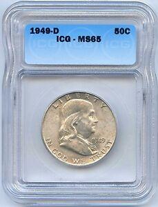 High Grade 1949-D 50C Franklin Silver Half Dollar. ICG Graded MS 65. Lot #2461