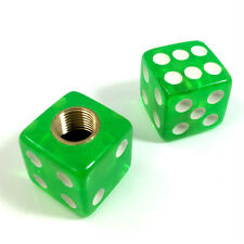 2 Premium Clear Green Dice Tire/Wheel Air Stem Valve Caps for Motorcycle-Bike