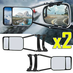 2X ADJUSTABLE Trailer Dual Tow Mirror Extension Universal Car Blind Spot W/Strap