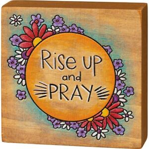 """New Inspirational """"Rise Up & Pray"""" Solid Wood Box Sign"""