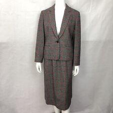 Vintage Pendleton 2 Piece Suit Blazer 12 Skirt 14 Plaid 100% Wool Lined Womens