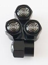 4 x Matt Black Tyre Valve Dust Caps (Fits VOLVO)