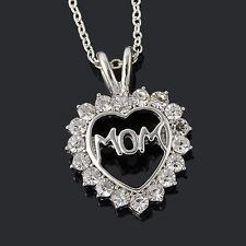 Mamma mamma mamma cuore catena con strass Collana Colore Argento Nuovo Natale 1207