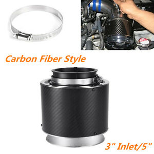 "3""Inlet/5""Carbon Fiber Style Hi-Flow Car Turbocharger Cold Air Intake Air Filter"