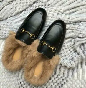Hot Womens Faux Fur Lined Slippers Mules Genuine Leather Horsebit Shoes Casual h
