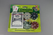 Vegas Style Playing Cards Professional Poker Chips 6 x 1,5,10, 25 Good for party