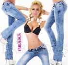 New Womens Washed Boot Cut Leg Stretch Jeans Denim Size 6 8 10 12 14 XS S M L XL
