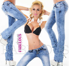 New Womens Washed Boot Cut Leg Stretch Jeans Denim Size 6 8 10 12 14 XS S M L XL