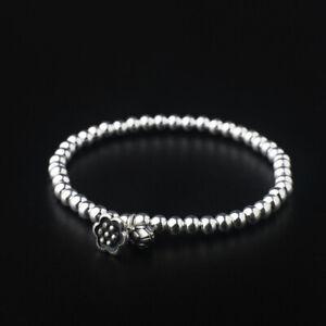 D08 Bracelet Élastique Chaine Boules Avec Fleur de Lotus Et Bourgeon 925 Argent