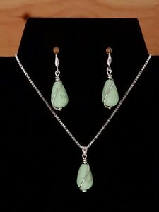 STERLING SILVER CERAMIC BEADS JEWELLERY EARRINGS NECKLACE SET FASHION WOMAN GIFT