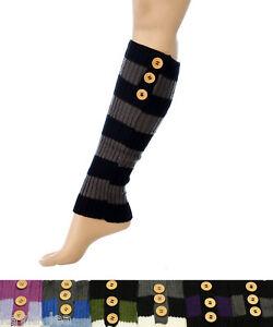 3 Button Multi Stripe Acrylic Leg Warmers Boot Cuff Socks 4 Colors