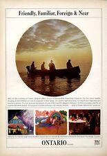 1966 Canada Department of Tourism PRINT AD Ontario Lake Fishing View FANTASTIC!
