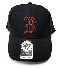 Boston Red Sox 47 Brand Black MVP Wool Strap Adjustable On Field Hat Cap MLB