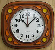 A Vintage Dugena Quartz Kienzle Germany Battery Ceramic Wall Clock Orange/Yellow