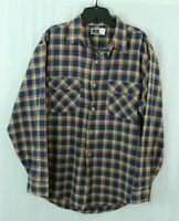 Vintage BIG MAC Flannel Work Shirt LARGE Blue Plaid JC Penney 60's 70's