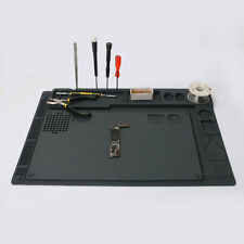 "16x11"" 2in1 Silicone Mat Table Pad Maintenance Soldering Anti Heat Work Station"