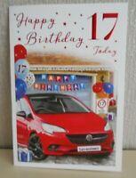 Happy Birthday 17 today Driving car 17th Seventeen Male Birthday Card